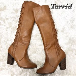 Torrid Tan Lace Up Back Heeled Boots 6.5 W